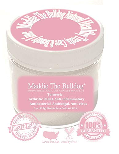 Maddie The Bulldog Turmeric for Dogs, Helps Arthritis, Heart Disease, Gastrointestinal Health, Cancer Prevention - Antibacterial, Anti-fungal, Anti-Virus - Doctor Created Blend, 2 oz, Made in The USA