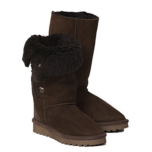 Celtic & Co. Womens British Shearling Popper Detail Calf Height Boots - Mocca - 8