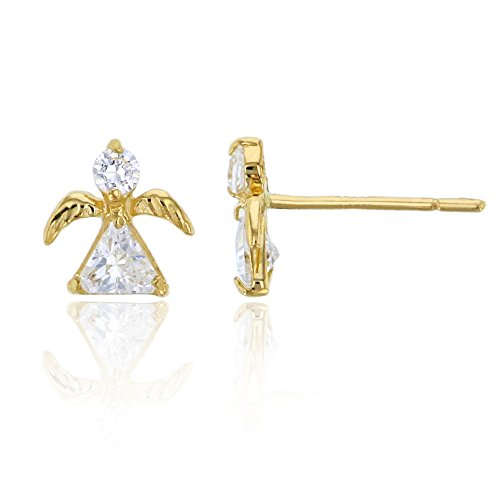 - 14K Yellow Gold Round and Trillion Little Angel Stud Earring