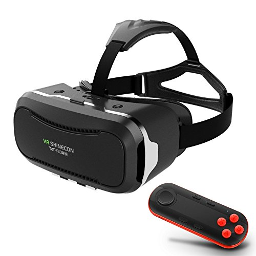 3D Movies Games VR Headset w/ iOS Android Bluetooth Remote Controller, Universal Virtual Reality Glasses Box for iPhone Samsung Galaxy SONY Xperia LG HTC MOTO Cellphones