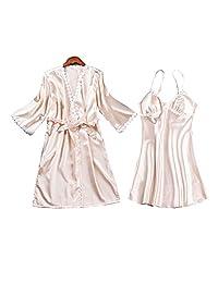 Womens Satin Pajamas Set Sexy Ice Silk Suit Set Sleepwear/Nightwear Clothes, Champagne #D