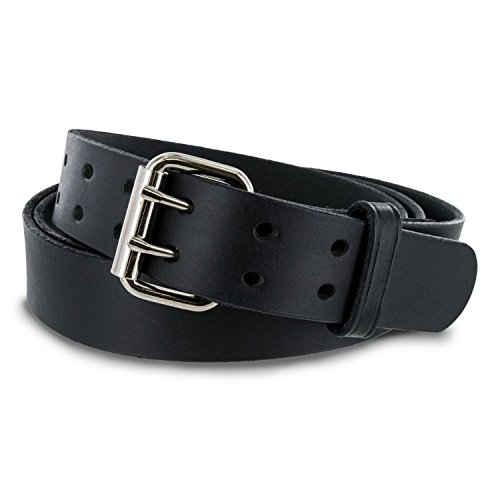 Hanks Legend - Men's Double Prong Leather Belt - Heavy Duty Belts - USA Made - 100 Year Warranty - Black - Size 38