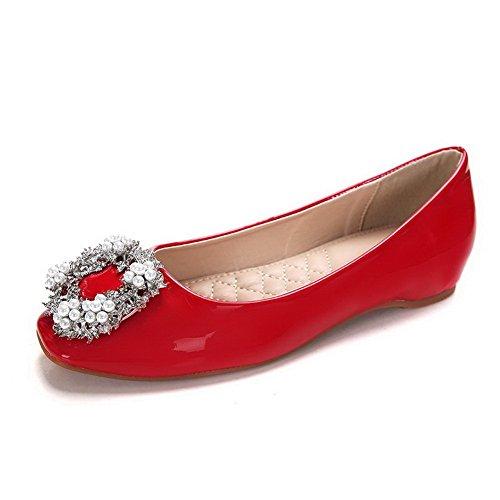AalarDom Mujer Mini Tacón Puntera Cuadrada Material Suave Sólido De salón Rojo-Joyas