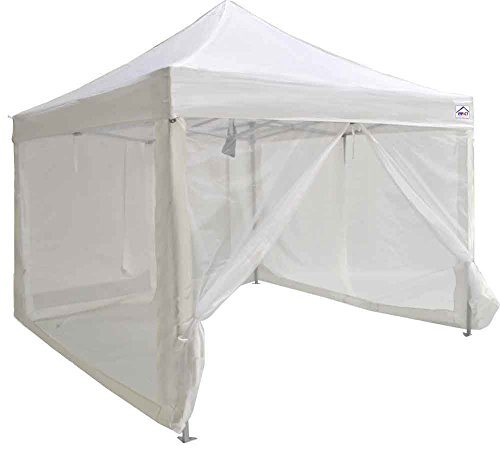 Impact Canopies 10 by 10 Pop Up Canopy with Roller Bag and Screening Walls – White by Impact Canopy