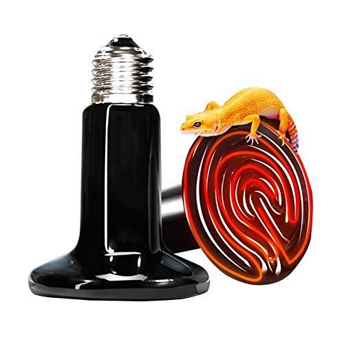 Lucky Farm 110V 2 Pack Ceramic Infrared Heat Lamp Emitter Brooder Coop Bulb Light (Black, 75W)