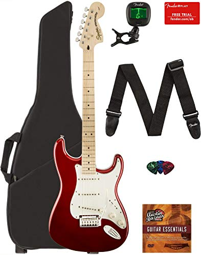 (Fender Squier Standard Stratocaster Guitar - Maple Fingerboard, Candy Apple Red Bundle with Gig Bag, Tuner, Strap, Picks, and Austin Bazaar Instructional DVD)