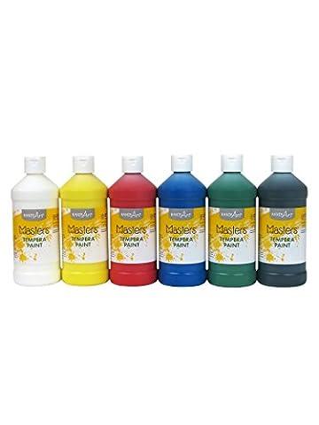Handy Art Masters Washable Tempera Paints Set, 6-16 oz (White Paint Tempera)