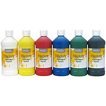 Handy Art Masters Washable Tempera Paints Set, 6-16 oz