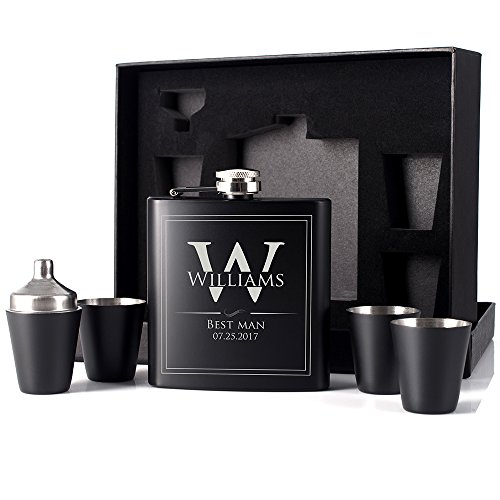 P Lab Groomsmen Gift - Groomsman Gifts For Men, Wedding Favor Customized 6 Piece Flask Set w Gift Box - Engraved 6oz Stainless Steel Hip Flask Custom Personalized Flask Gift Set, Matte Black #7