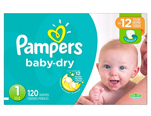Pampers Baby Dry Disposable Diapers Size 1 < 4.6 kg, Super Pack, 120 Count (Packaging May Vary)