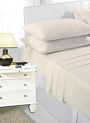 RAYYAN LINEN s Cream – King con Esquinas de 100% algodón Egipcio 200 Hilos sábanas, | sábana Bajera 200TC: Amazon.es: Hogar