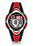 Waterproof Swimming Led Digital Sports Watches for Children Kids Girls Boys,Rubber Strap,Red