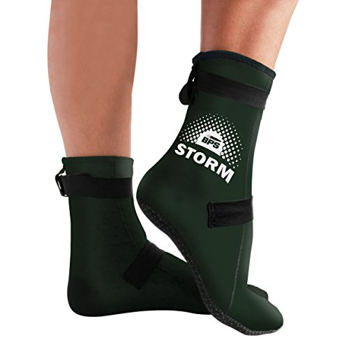 BPS 'Storm Elite Sport' Water Socks (High Cut - More Coverage, Protection & Warmth) 3mm Neoprene Glued & Blind-Stitched w/Fit Adjustment Straps - Snorkeling, Tide-Pooling (Water & Sand Activities)