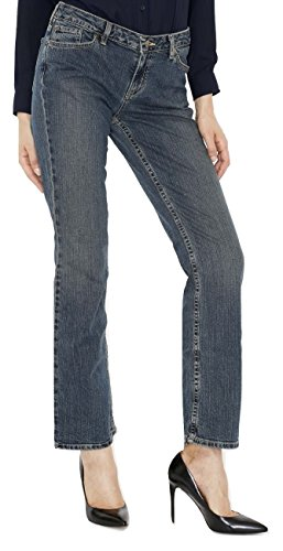 Jeans Canyon Stretch - Canyon River Blues Women's Distressed Stretch Jeans - Straight Leg Mid Rise - Medium Wash Blue Size 6