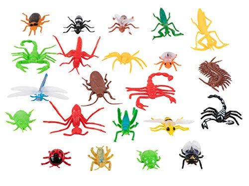 Juvale Plastic Bug Toys - 22-Pack Fake Insect Figures, 22 Assorted Creepy Crawlers Including Spider, Cockroach, & Centipedes