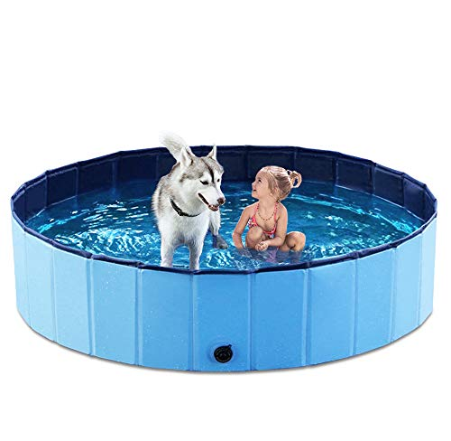 Jasonwell Foldable Dog Pet Bath Pool Collapsible Dog Pet Pool Bathing Tub Kiddie Pool for Dogs Cats and Kids (48inch.D x 11.8inch.H, Blue)