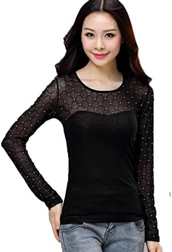 Sheicon Women Long Sleeve Hollowout Elastic Sexy Sheer Basic Tops Lace Blouse