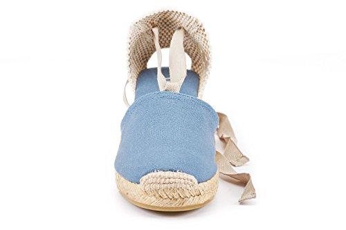 Viscosa Escala 2,5 Zeppa, Morbido Cinturino Alla Caviglia, Punta Chiusa, Classico Tacco Espadrillas Realizzato In Jeans Spagna