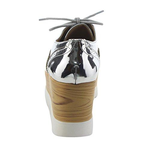 Up Trendy Silver X2B Oxfords Heel High Lace Wedge Womens Wing FK39 Platform Tip OU7U4W
