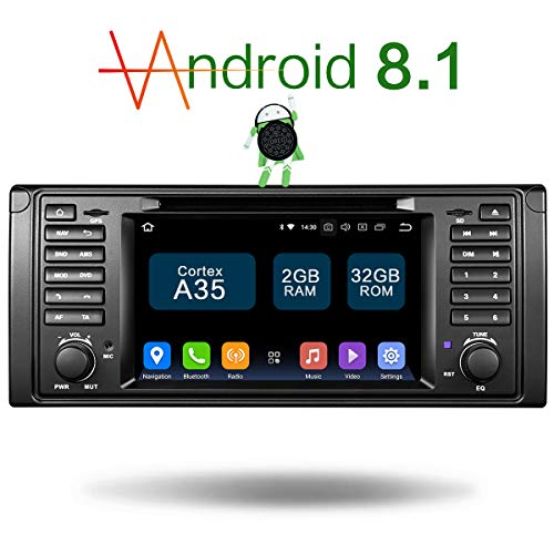 Amaseaudio Upgrade Android 8.1 Double Din 7 inch TFT LCD Car DVD Stereo Radio Player for BMW 5 Series E39 E38 M5 X5 Vehicle GPS Navigation System ()
