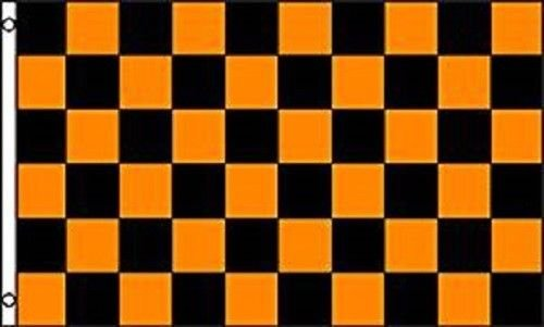 advertising checkered checker orange black
