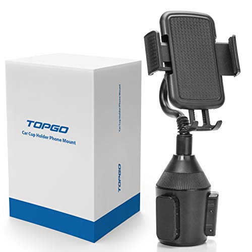 TOPGO Cup Holder Phone Mount Universal Adjustable Gooseneck Cup Holder Cradle Car Mount for Cell Phone iPhone Xs/XS Max/X/8/7 Plus/Galaxy ()