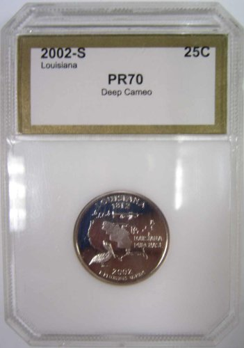 2002 S Louisiana Statehood Proof Quarter Graded PR70 Deep Cameo by PCI Washington Proof Quarter Cameo