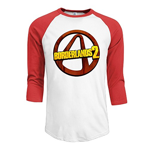 IYaYa Borderlands 2 Men's 3/4 Sleeve Raglan Baseball Shirt Red (Ps3 Civilization)