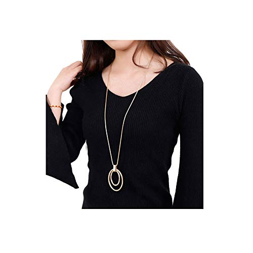 Long Sweater Chain Double Circle Pendant Necklace Bold Snake Chain covid 19 (Gold Tone Snake Necklace coronavirus)