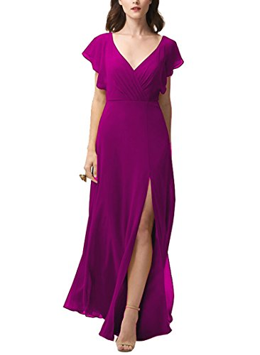 (Nicefashion Women's Gorgeous Open Back Sleeves Sweep Train Maid of Honor Dress with Side Slit Plum US8)