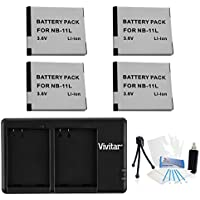 4-Pack NB-11L / NB-11LH High-Capacity Replacement Battery with Rapid Dual Charger for Select Canon Cameras - UltraPro Bundle Includes: Camera Cleaning Kit, Camera Screen Protector, Mini Travel Tripod
