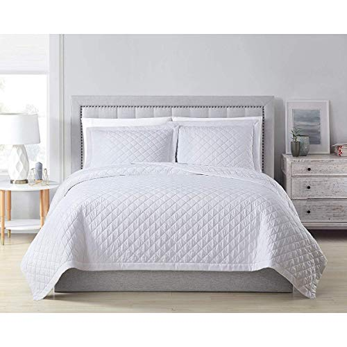 MISC White Bamboo Coverlet King Quilted Oversized Rayon Bedding Viscose Lightweight Box Stitch Pattern Fabric 108x96, 3 Piece