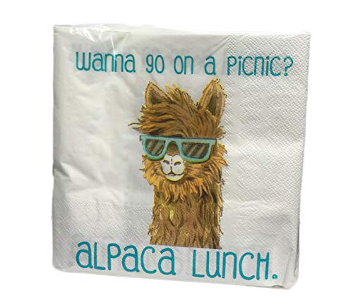 Wanna Go on a Picnic? Alpaca Lunch Funny Llama Alpaca Wearing Sunglasses 40 Pack 3 Ply Novelty Paper Luncheon Cocktail Beverage Party Napkins (Novelty Sunglasses Cocktail)