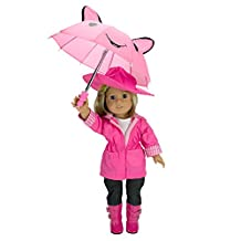 Doll Clothes for American Girl Dolls: 6 Piece Rain Outfit - Includes Rain Jacket, Umbrella, Boots, Hat, Pants, and Shirt