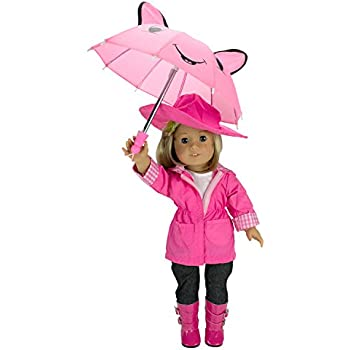 doll dress for 18 inch american girl allover purple pink blue hat umbrella 7