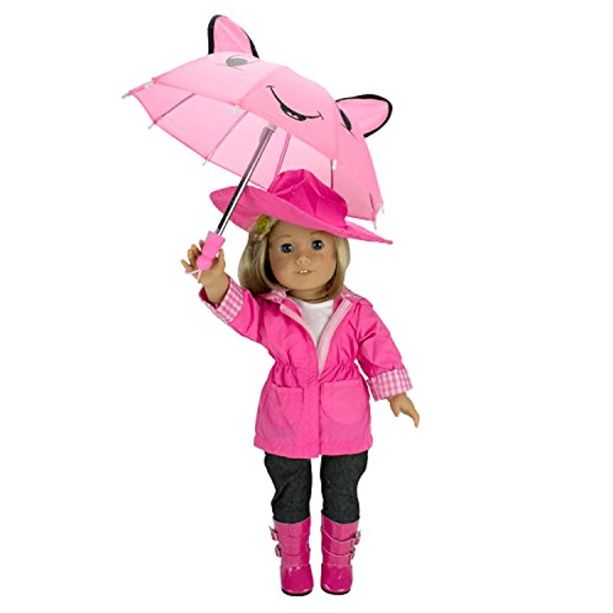 [인형옷] Dress Along Dolly Rain Coat Doll Clothes for American Girl Dolls:- Includes Rain Jacket, Umbrella, Boots, Hat, Pants, and Shirt [인형소품]