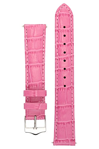 Dunhill Model (Signature Tropico in pink 16 mm watch band. Replacement watch strap. Genuine leather. Silver Buckle)