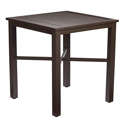 Hampton Bay Square Mix and Match Metal Outdoor Bistro Table, Create a Cozy Dining Space Outdoors, Slat-Top Design, 28'' Assembled Height by .Hampton Bay.