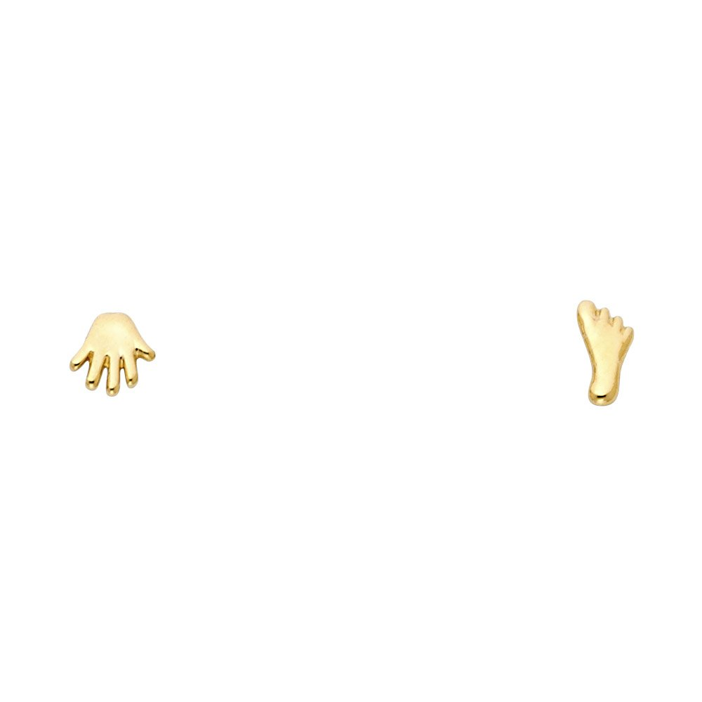 Wellingsale 14K Yellow Gold Polished Hand /& Foot Stud Earrings With Screw Back