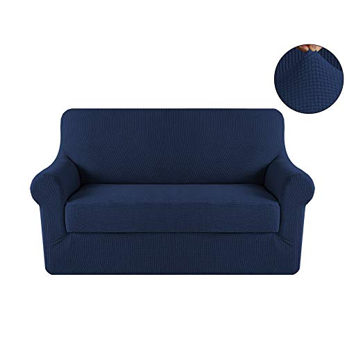 Turquoize 2-Pieces Spandex Stretch Slipcover Loveseat Sofa Covers Anti-Slip Couch Slipcover Highly Fitness (Loveseat,Navy)