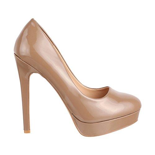 alto con tacco Monaco donna Khaki scarpe pump con stiletto plateau Elara da a xwAq8pYqU