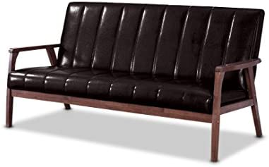 Best living room sofa: Baxton Furniture Studios Mid-Century Modern Scandinavian Style Faux 3 Seater Leather Wooden Sofa