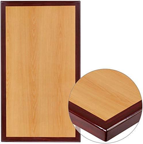 Flash Furniture 24 x 30 Rectangular 2-Tone High-Gloss Cherry Resin Table Top