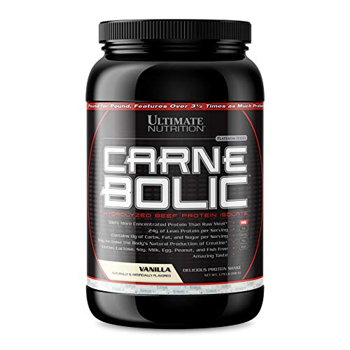 (Ultimate Nutrition Carnebolic Hydrolyzed Beef Protein Isolate, Vanilla, 1.79 Pound)