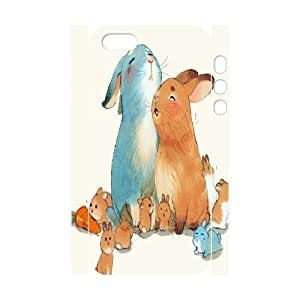 3D Yearinspace Rabbit Rabbit Watercolor Painting For Iphone 6 Plus 5.5 Phone Case Cover Protector with Design For Iphone 6 Plus 5.5 Phone Case Cover Girl {White}