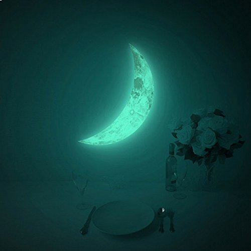 Crescent Wall - Amaonm® Hot Fashion Glow in the Dark Green Crescent Moon Wall Decals Luminous Light Moon Wall Stickers Murals Home Art Decor for Kids Boys and Girls Bedroom Ceiling Windows Deocration (15*9.5cm)