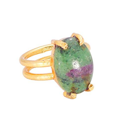 Handmade 22k Gold Vermeil Prong Set Ruby Zoisite Gemstone Stackable Ring ()