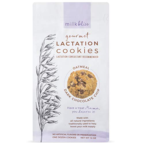 MilkBliss Dark Chocolate Chip Soft Baked Lactation Cookies for Breastfeeding, All Natural and GMO Free Lactation Boosting Ingredients! Oats, Flaxseed, Brewers Yeast. 12 Count.