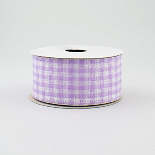 Lavender Purple White Gingham Check Wired Ribbon (1.5 Inch x 10 Yards) : RG01048G6