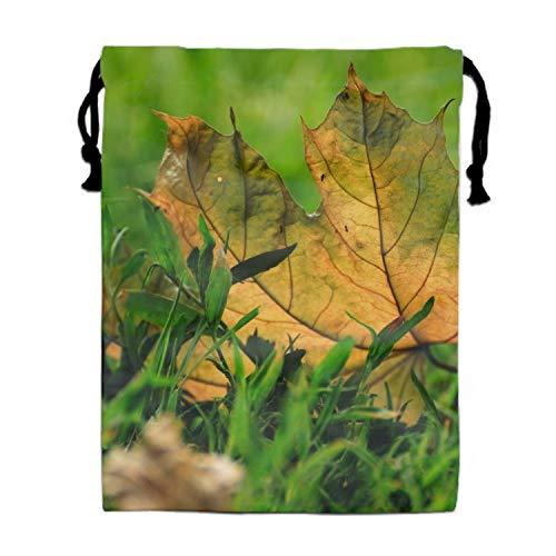 Personalized Earth Leaf Grass Unisex Drawstring Bag Travel Sports Bag 11.8 × -